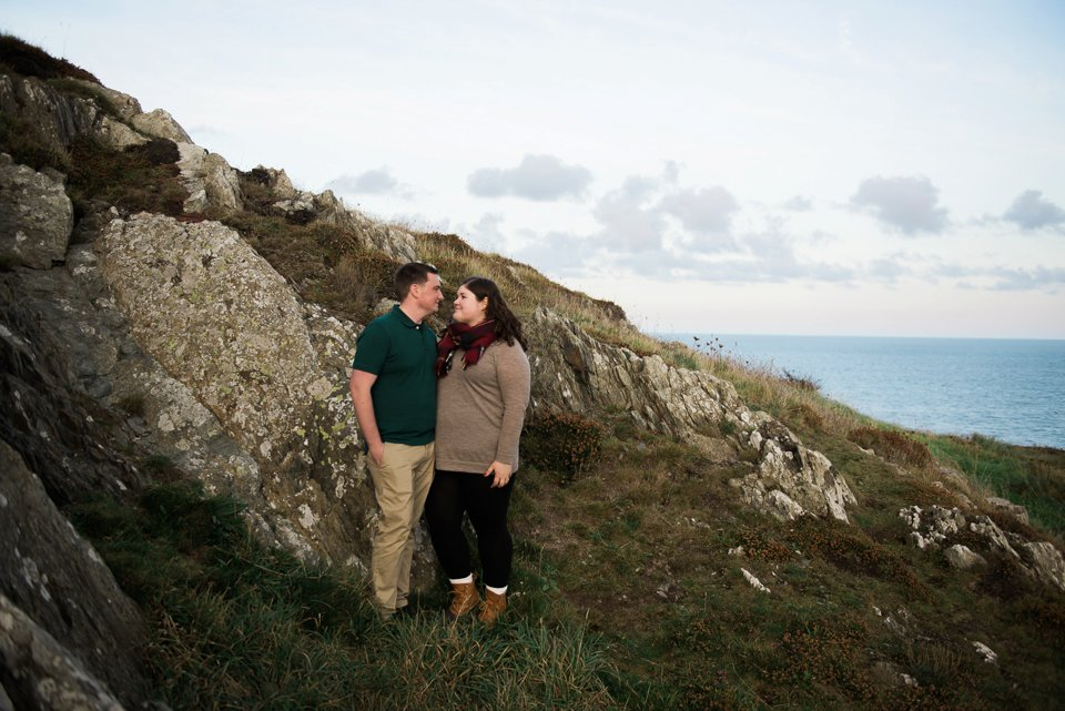 Howth Cliffs engagement couple