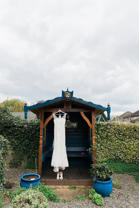 Wedding dress hung up outside