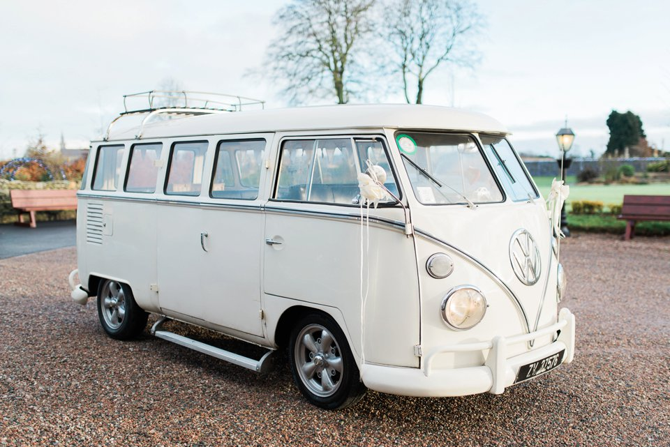 White VW wedding camper van at Darver Castle