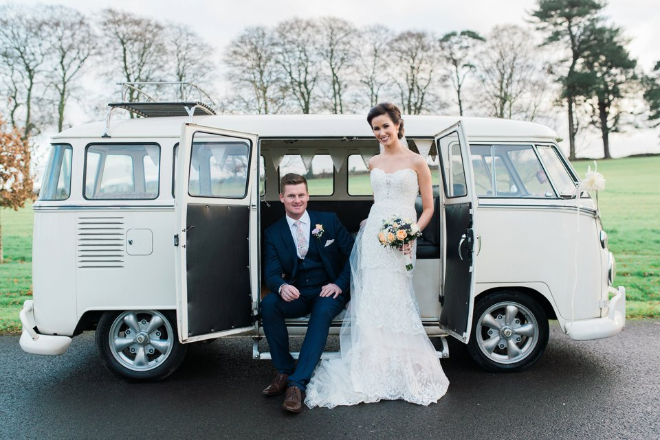 Bride and groom in VW camper van at Darver Castle