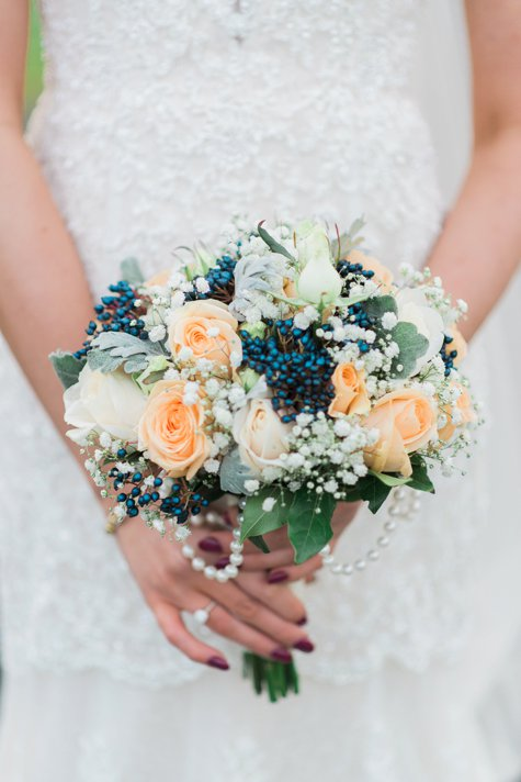 Peach and navy flowers with pearls