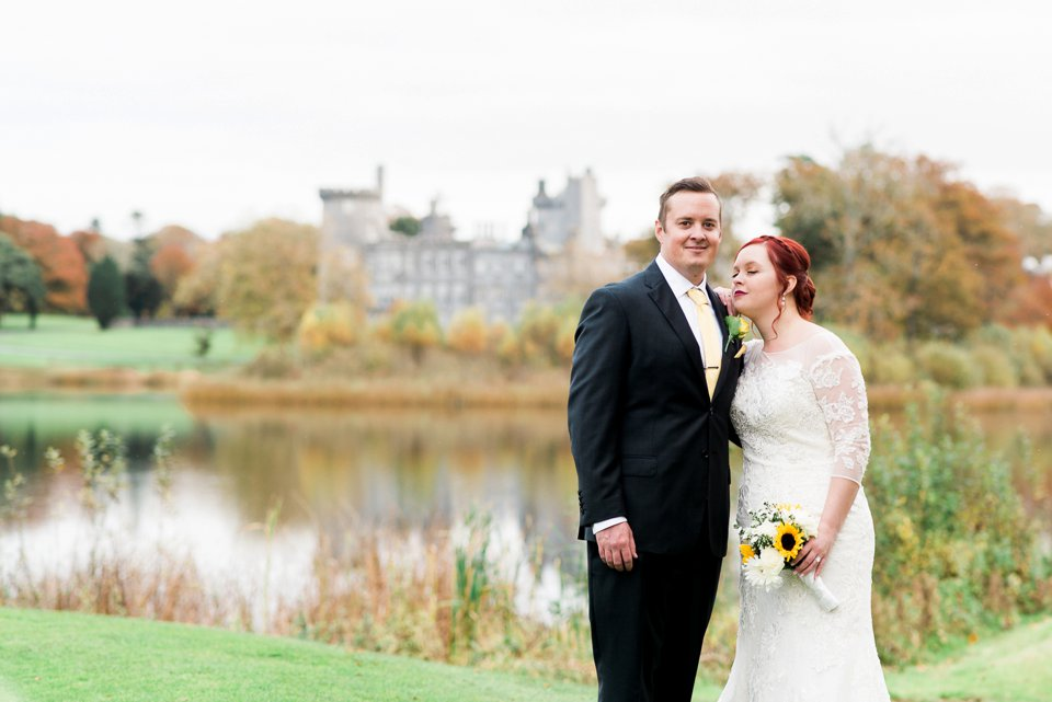 Bride and Groom in front of dromoland castle