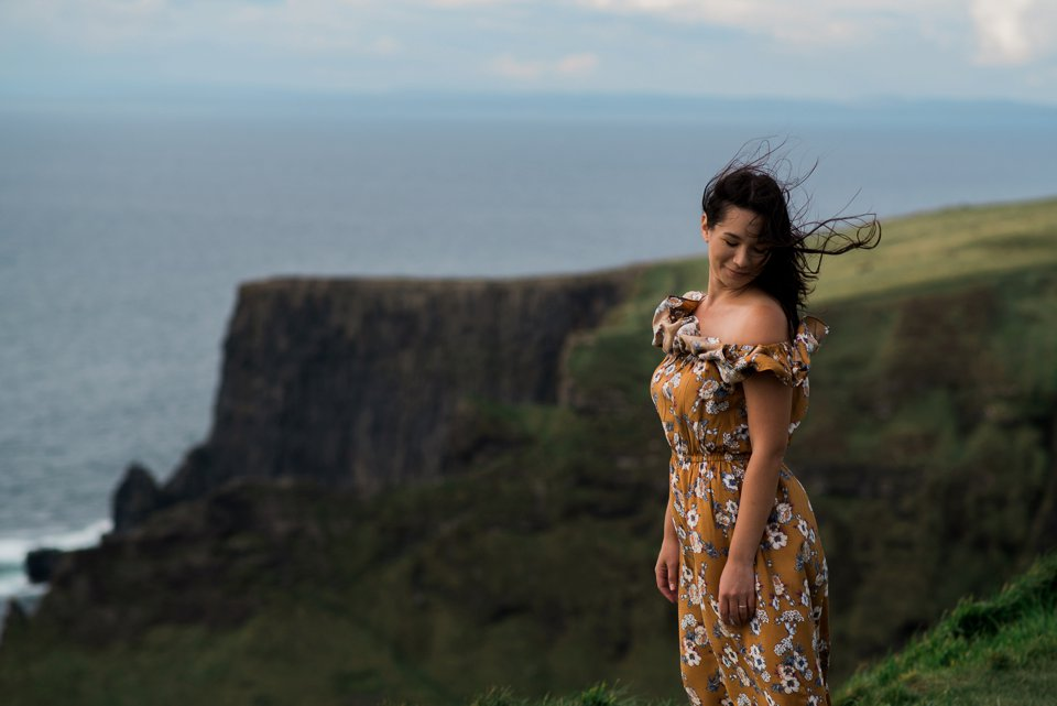Girl at cliffs of moher
