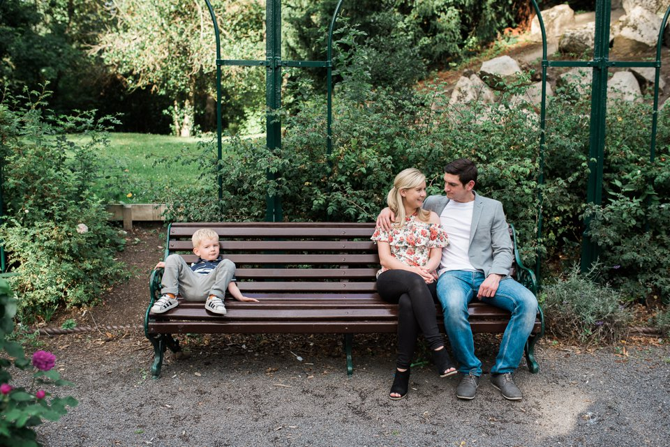 Family in the rose garden in the Iveagh Gardens