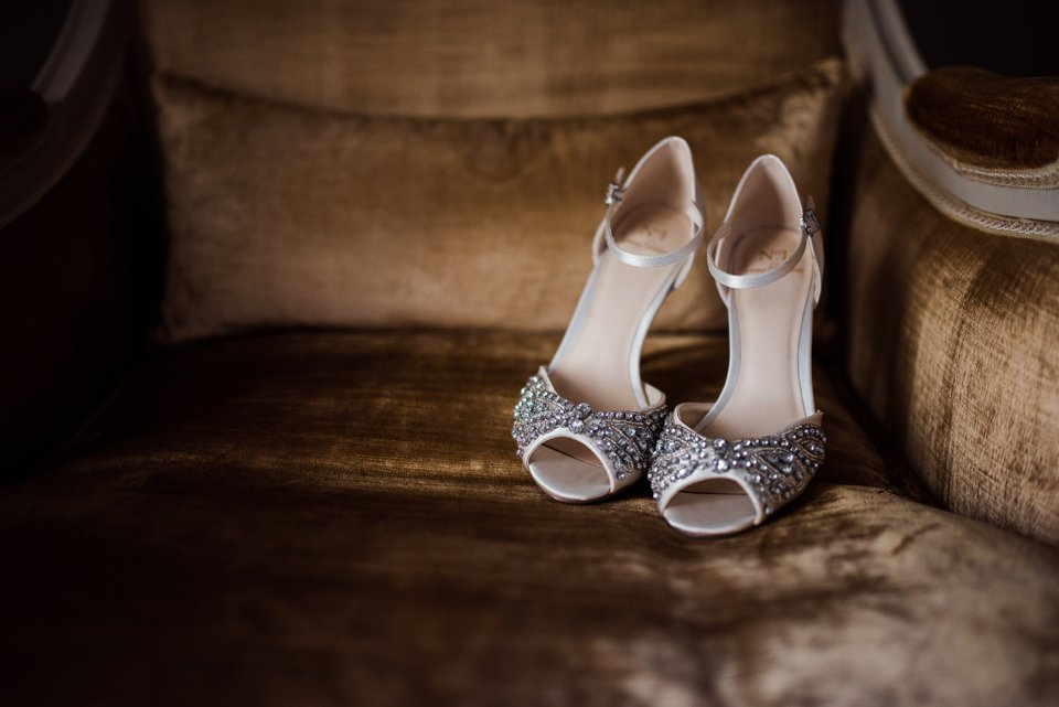 Sparkly wedding shoes in Carton House