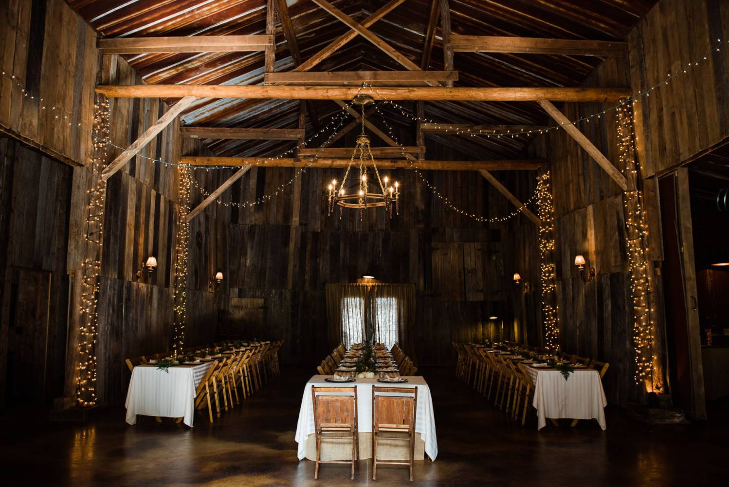 Barn wedding Interior with fairy lights