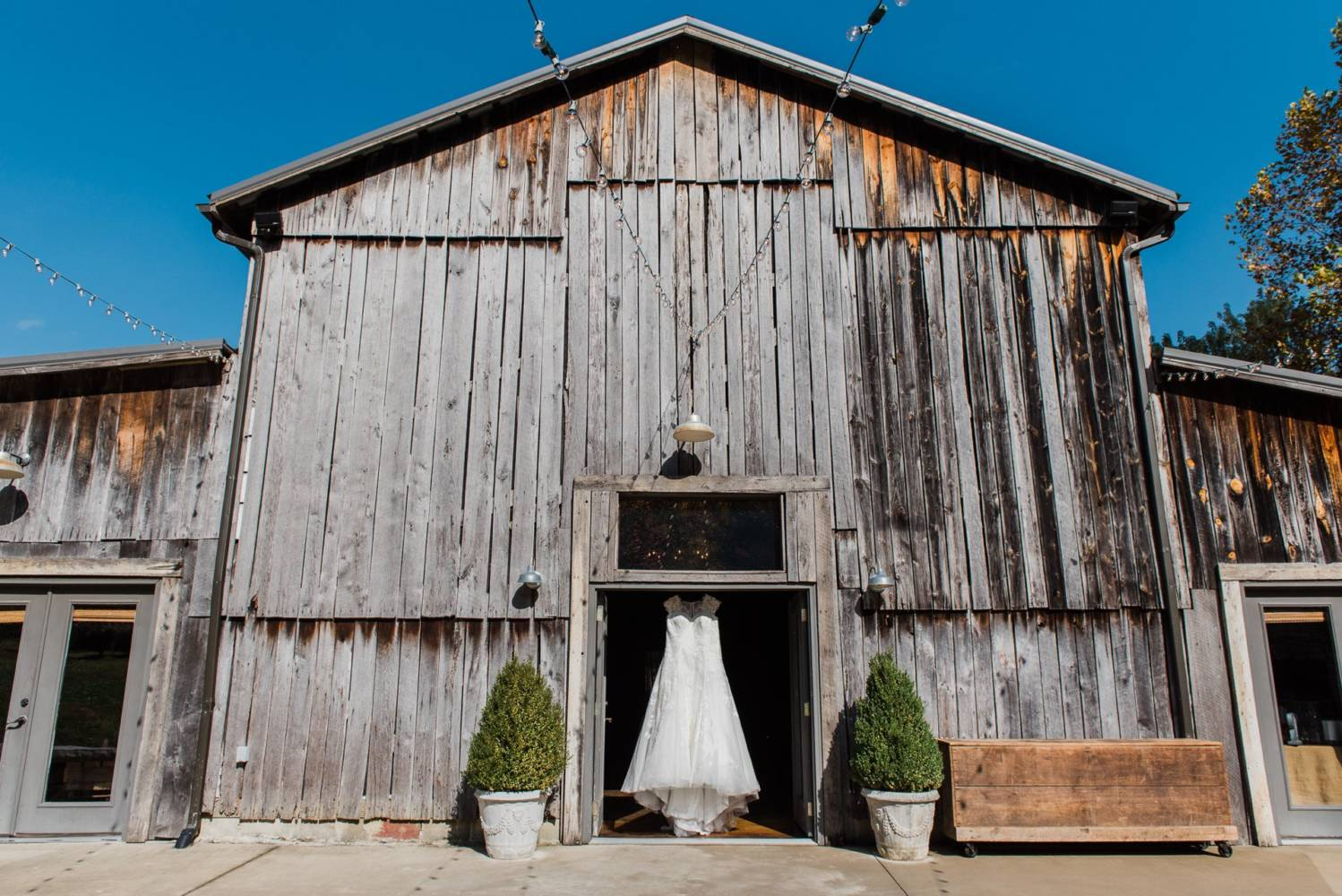 Barn wedding with wedding dress