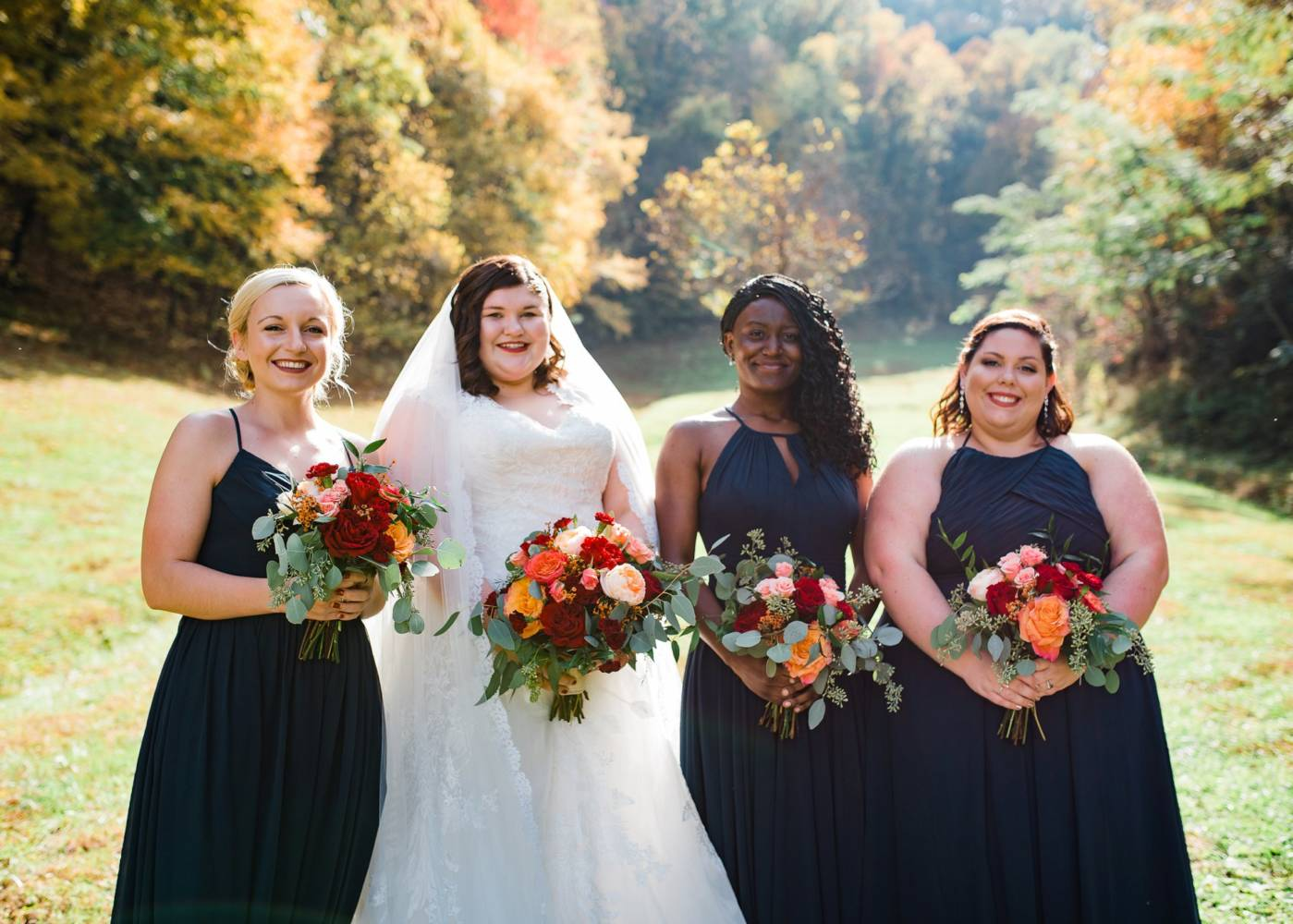 Autumn wedding bride and bridesmaids