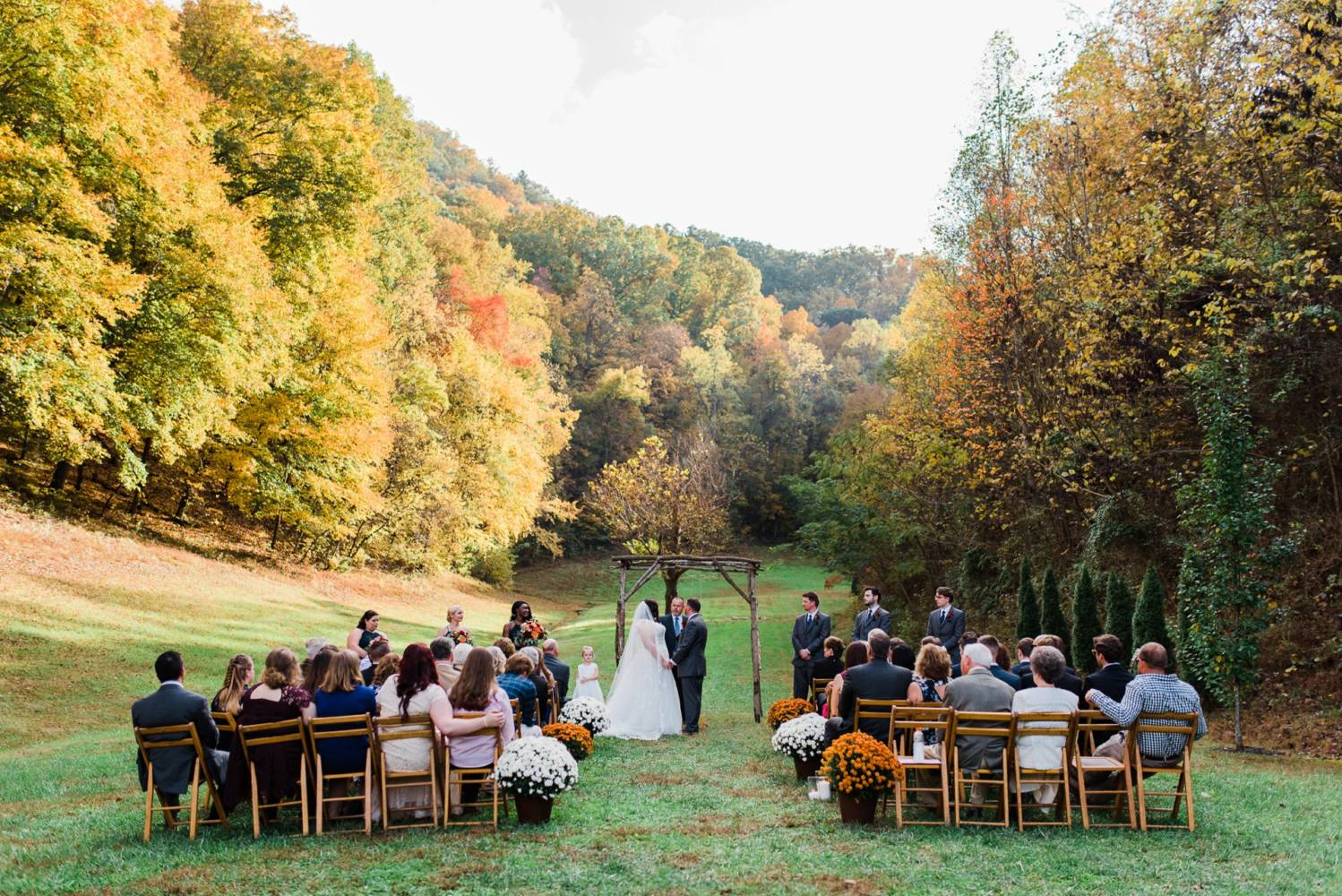 Autumn wedding outdoor ceremony