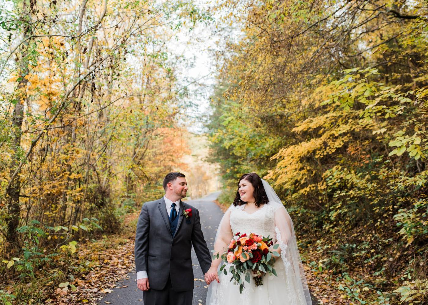 Autumn wedding bride and groom