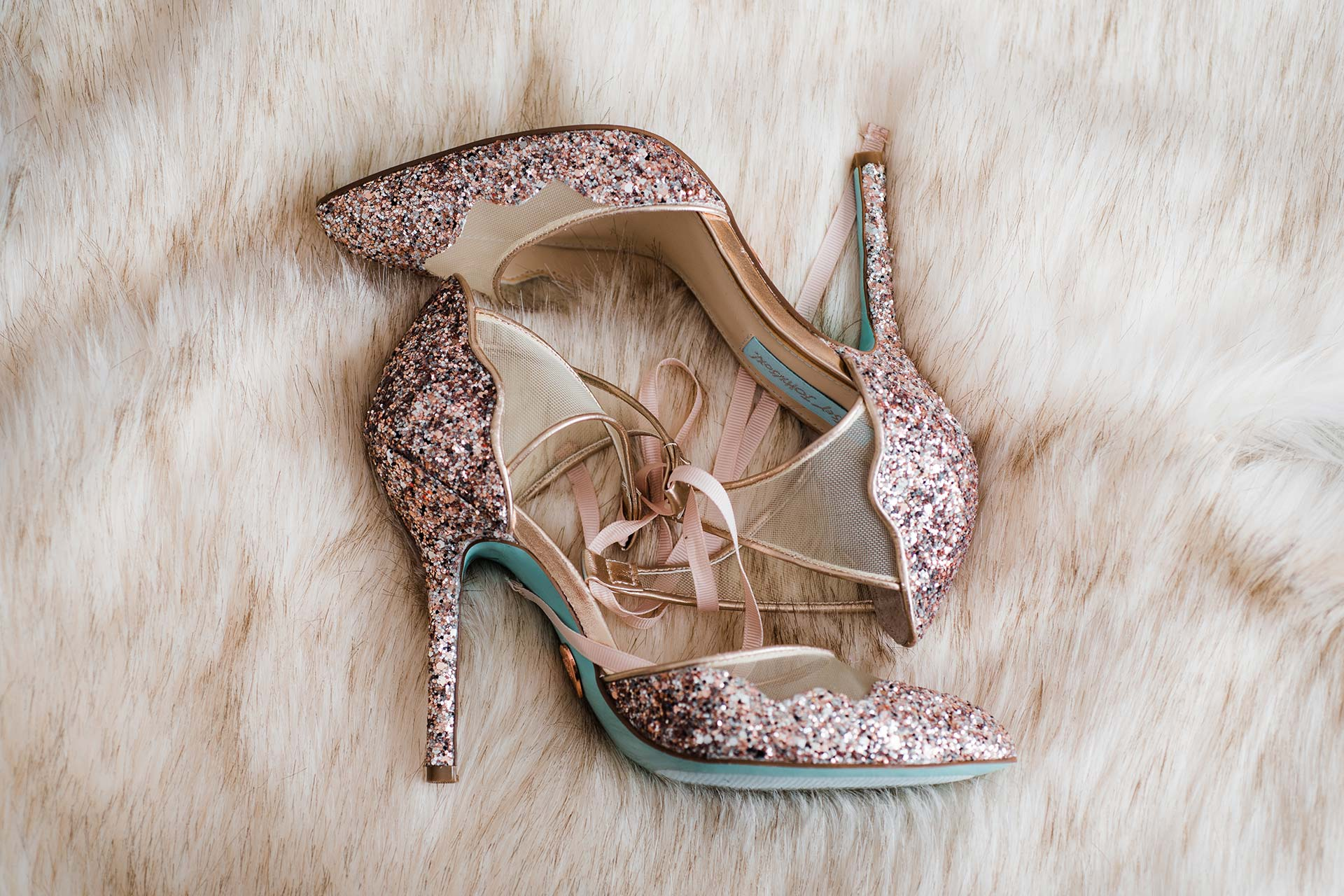 rose gold glittery betsey Johnson shoes
