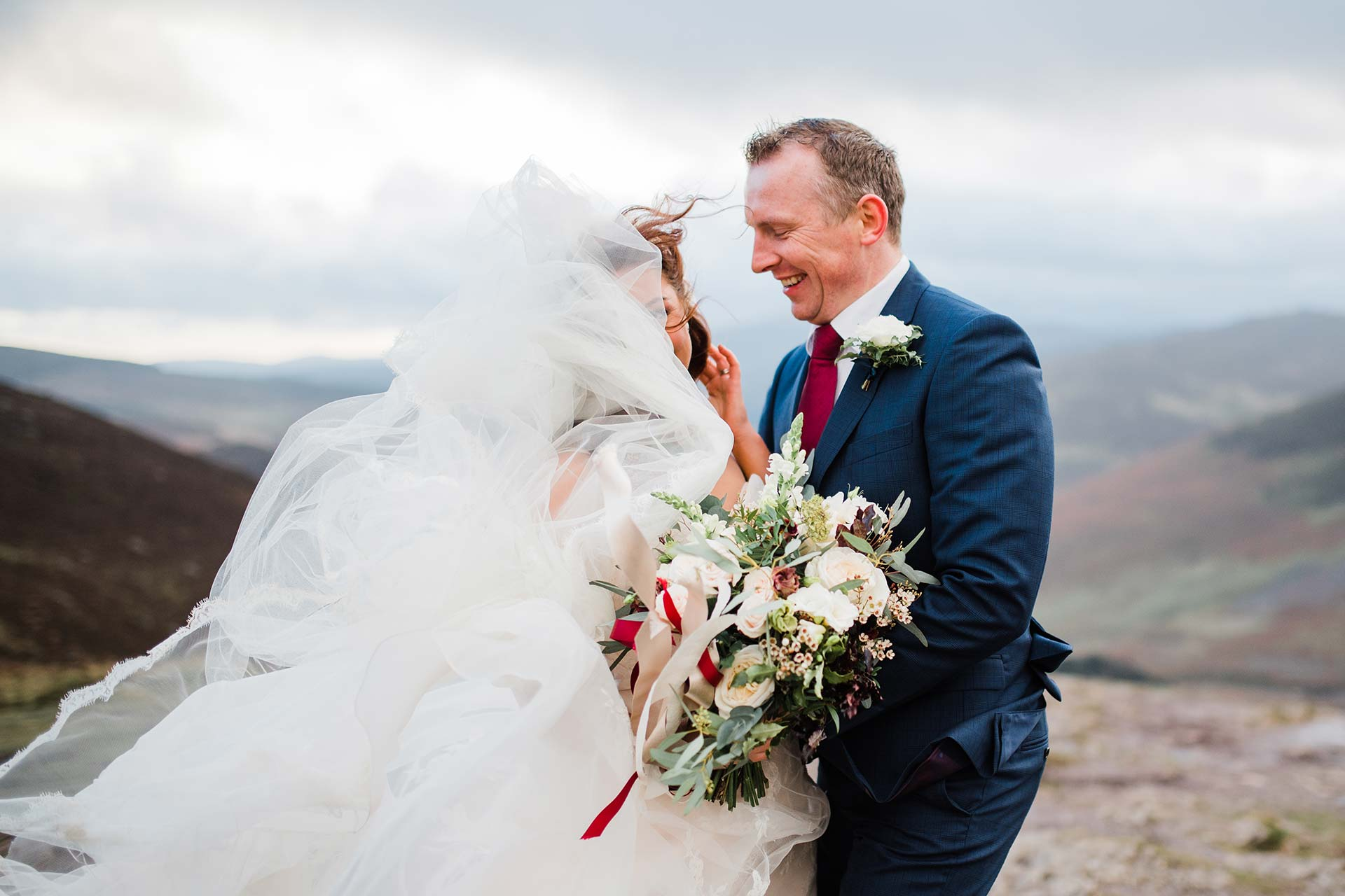 wind blows brides veil on wicklow mountains