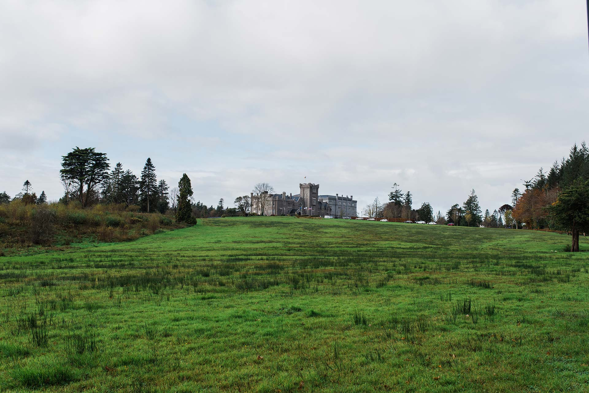 Vast green lawn sits in front of Kilronan Castle in Roscommon