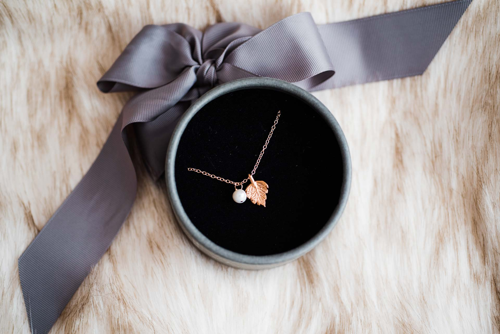 rose gold leaf necklace with a pearl