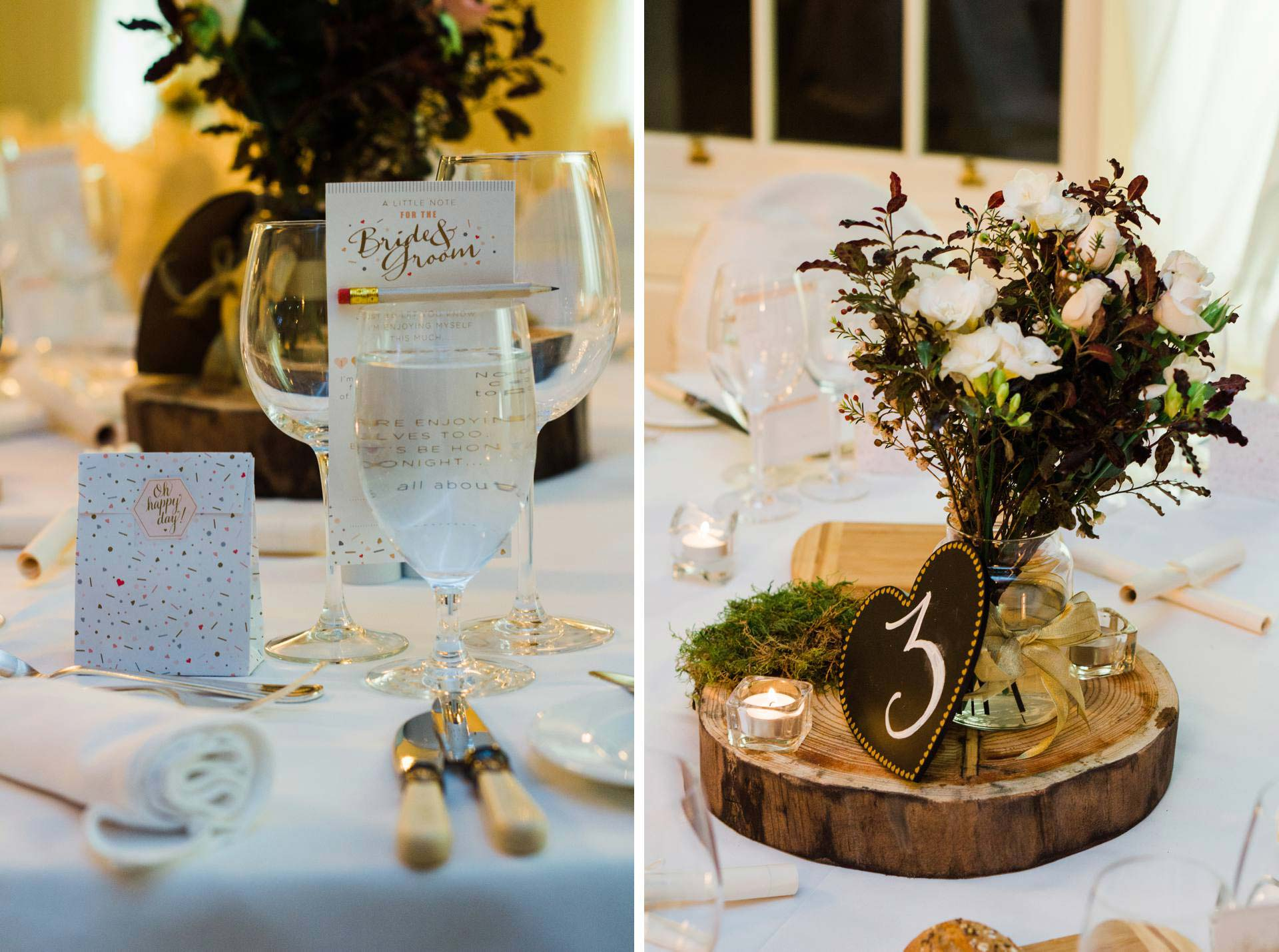 wedding reception table number and decor