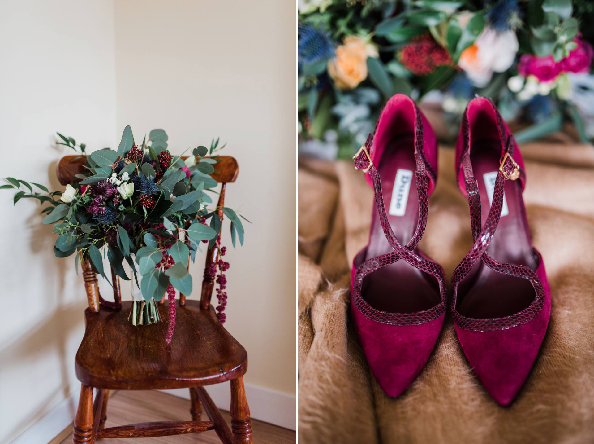 Burgundy flowers and blue thistle bouquet and burgundy wedding shoes