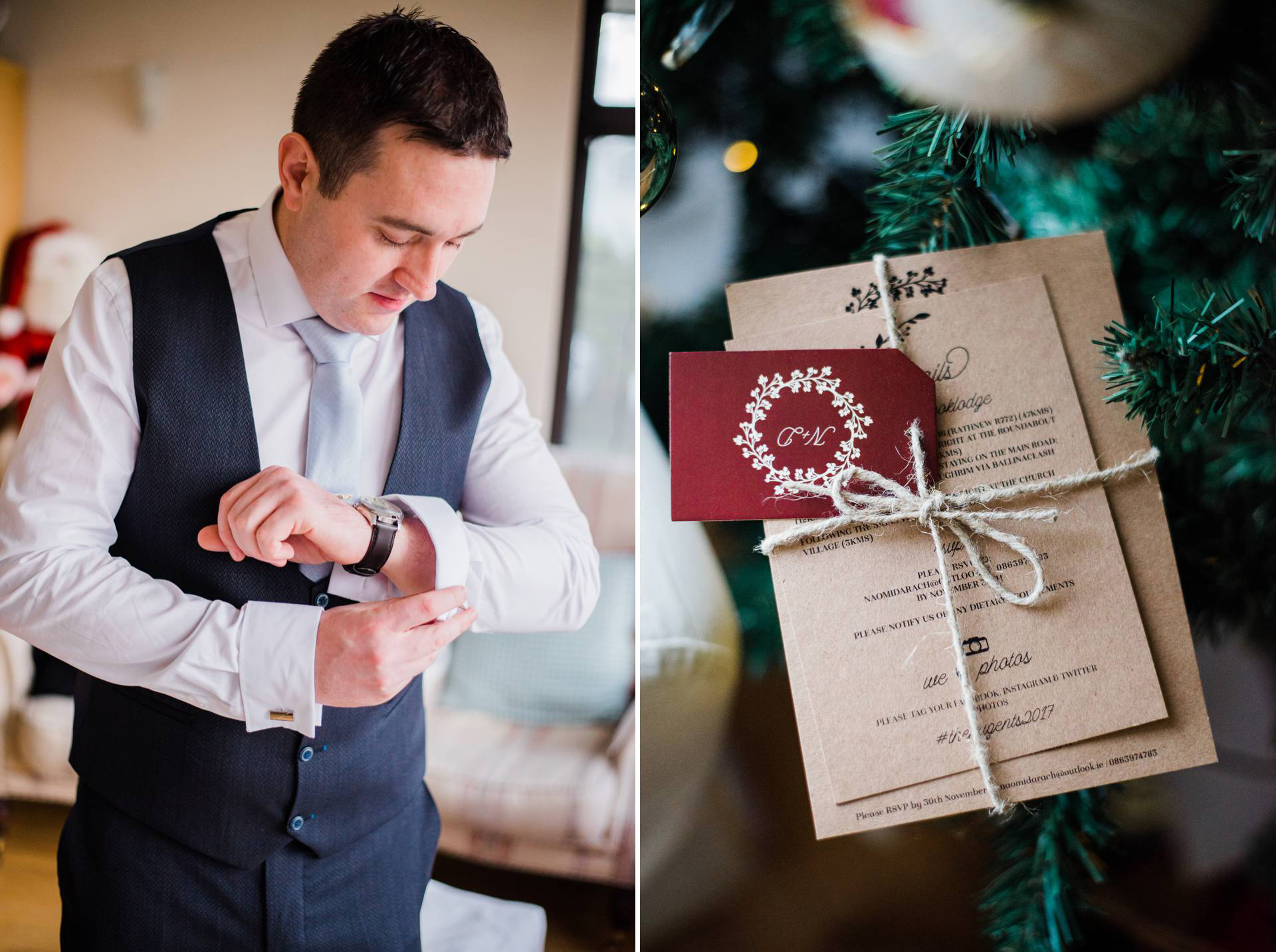 candid portrait of groom putting on cufflinks and detail image of wedding invitation