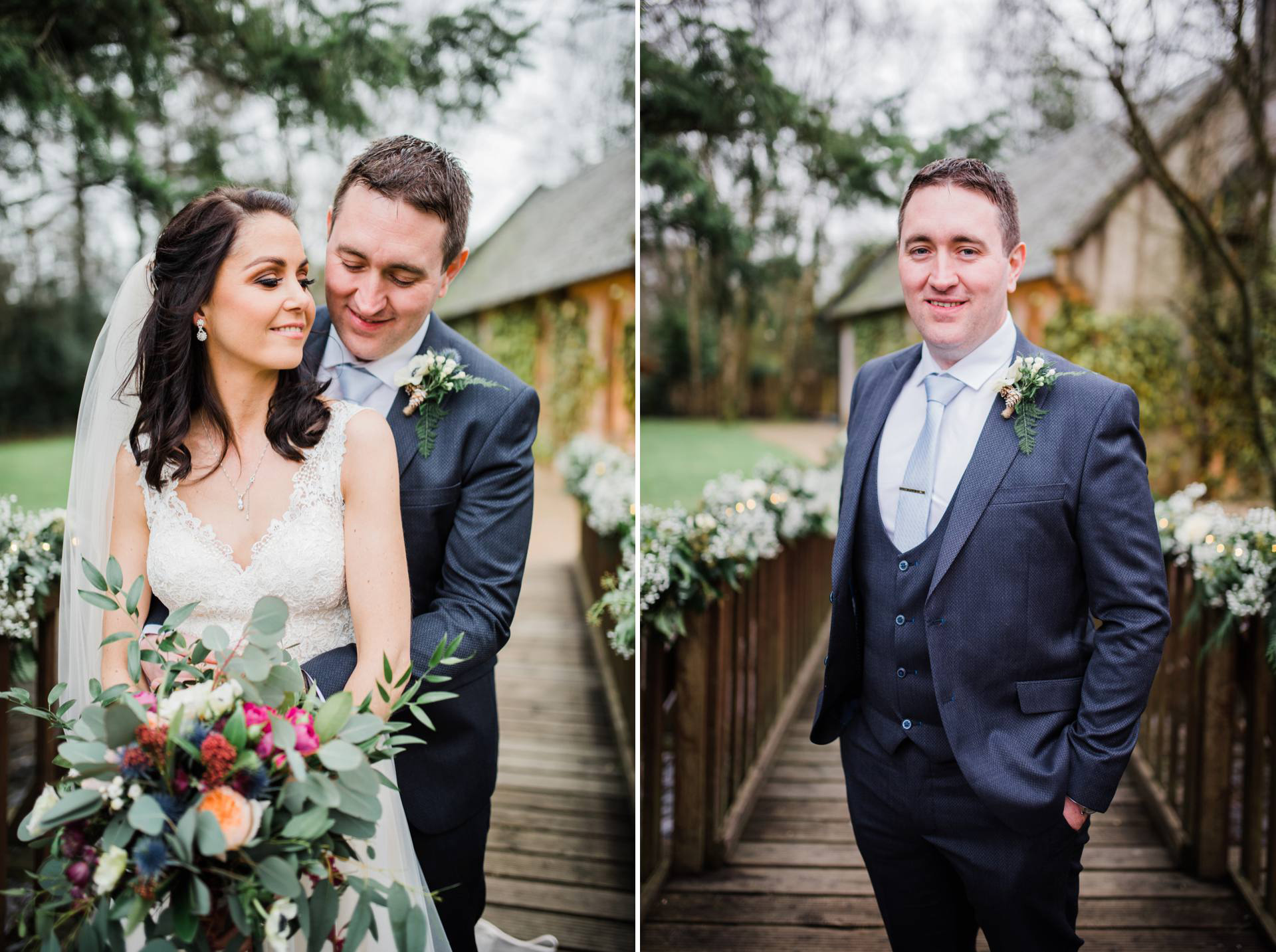 bride and groom pose for bridal portraits at brook lodge and macreddan village in wicklow