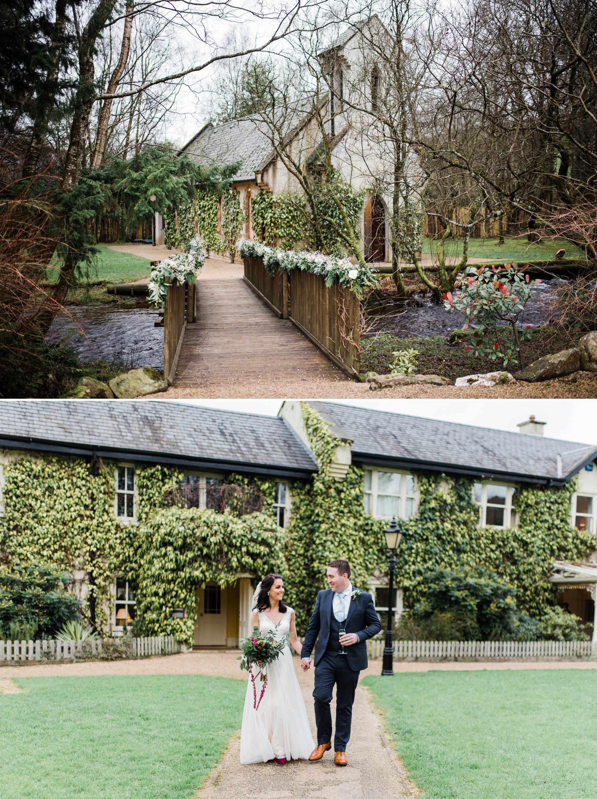 bride and groom walk in from of quaint chapel and ivy covered building