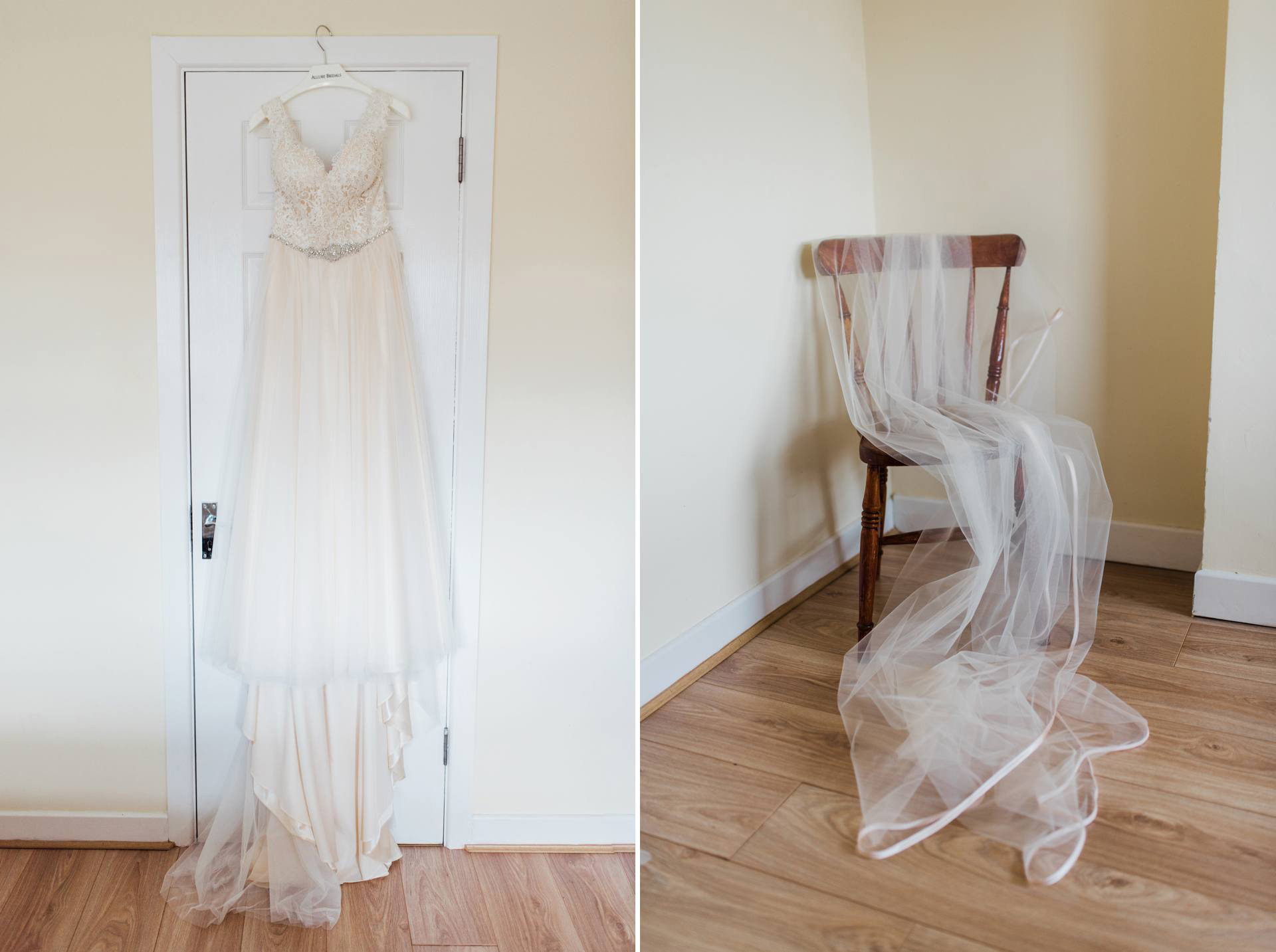 detail of wedding dress hanging from a door and a veil draped over a chair