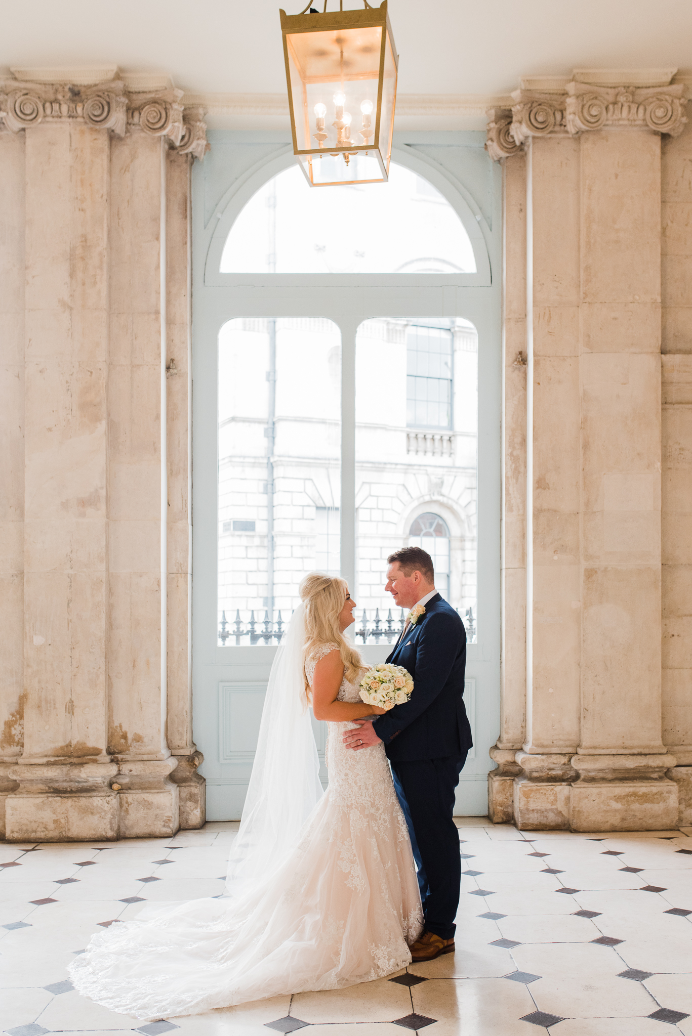 Bride and groom together in Dublin City Hall