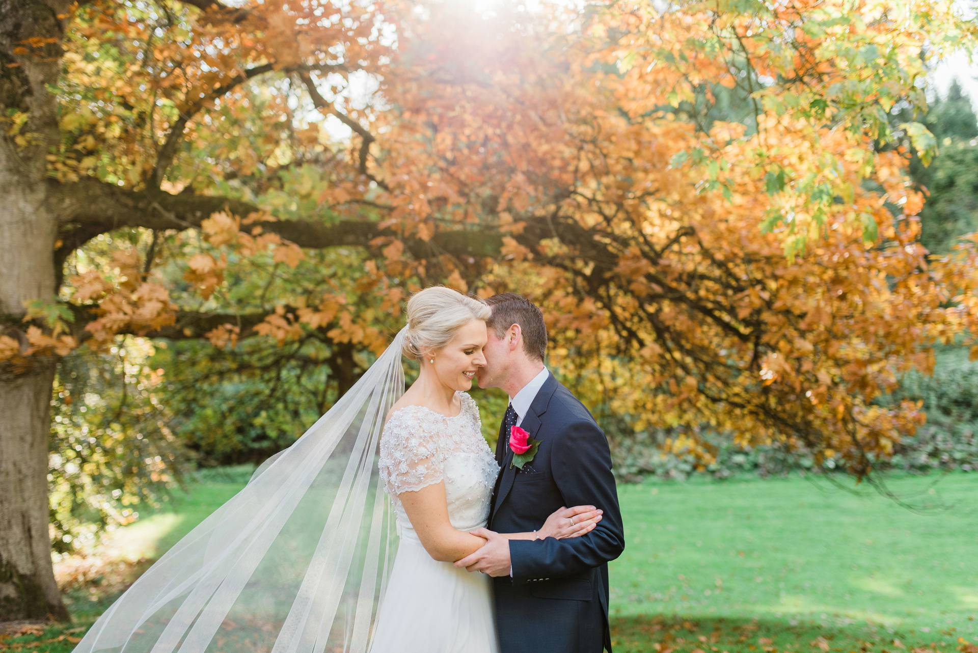 Bride and groom hugging under tree in Carton House