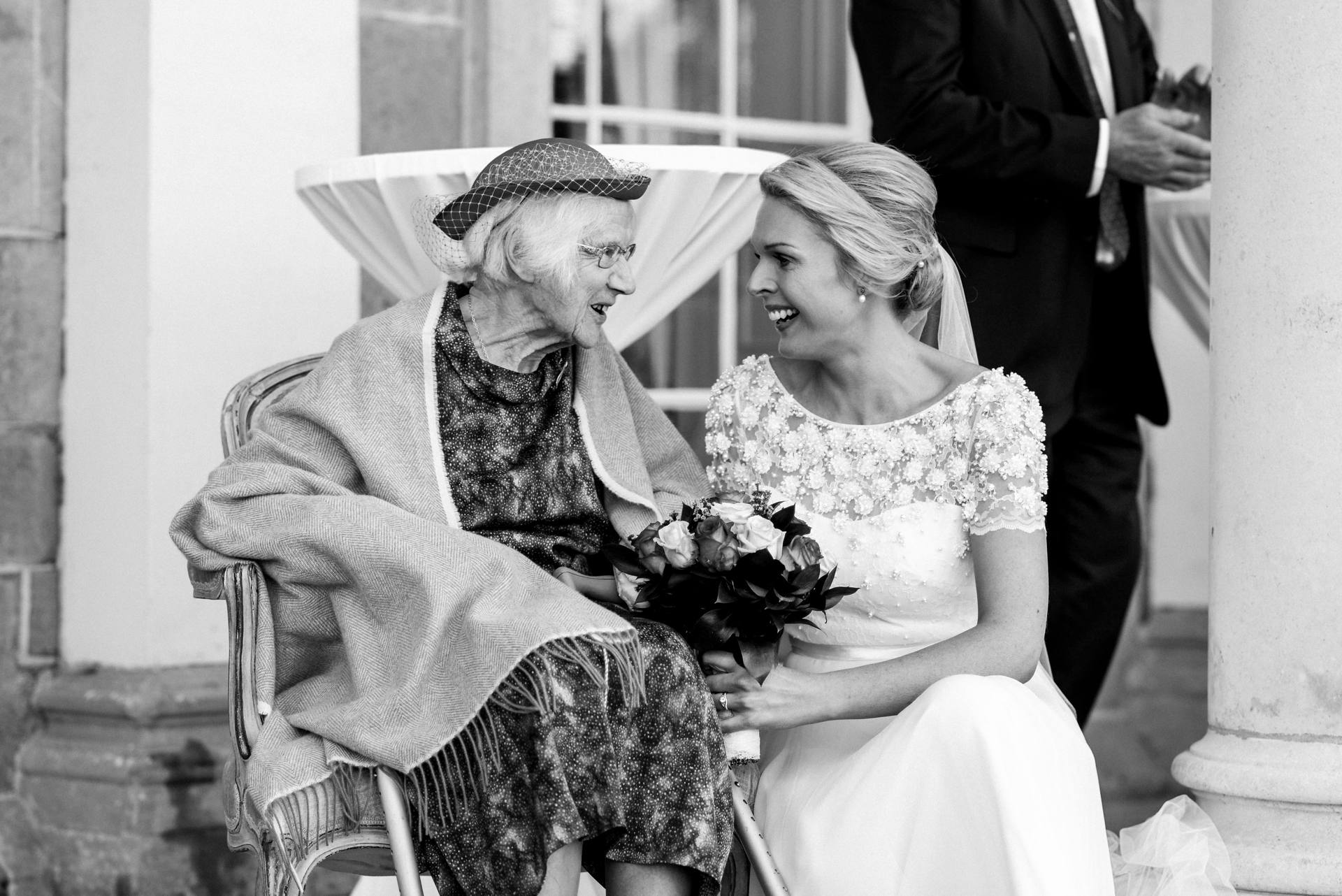 Bride with her granny smiling