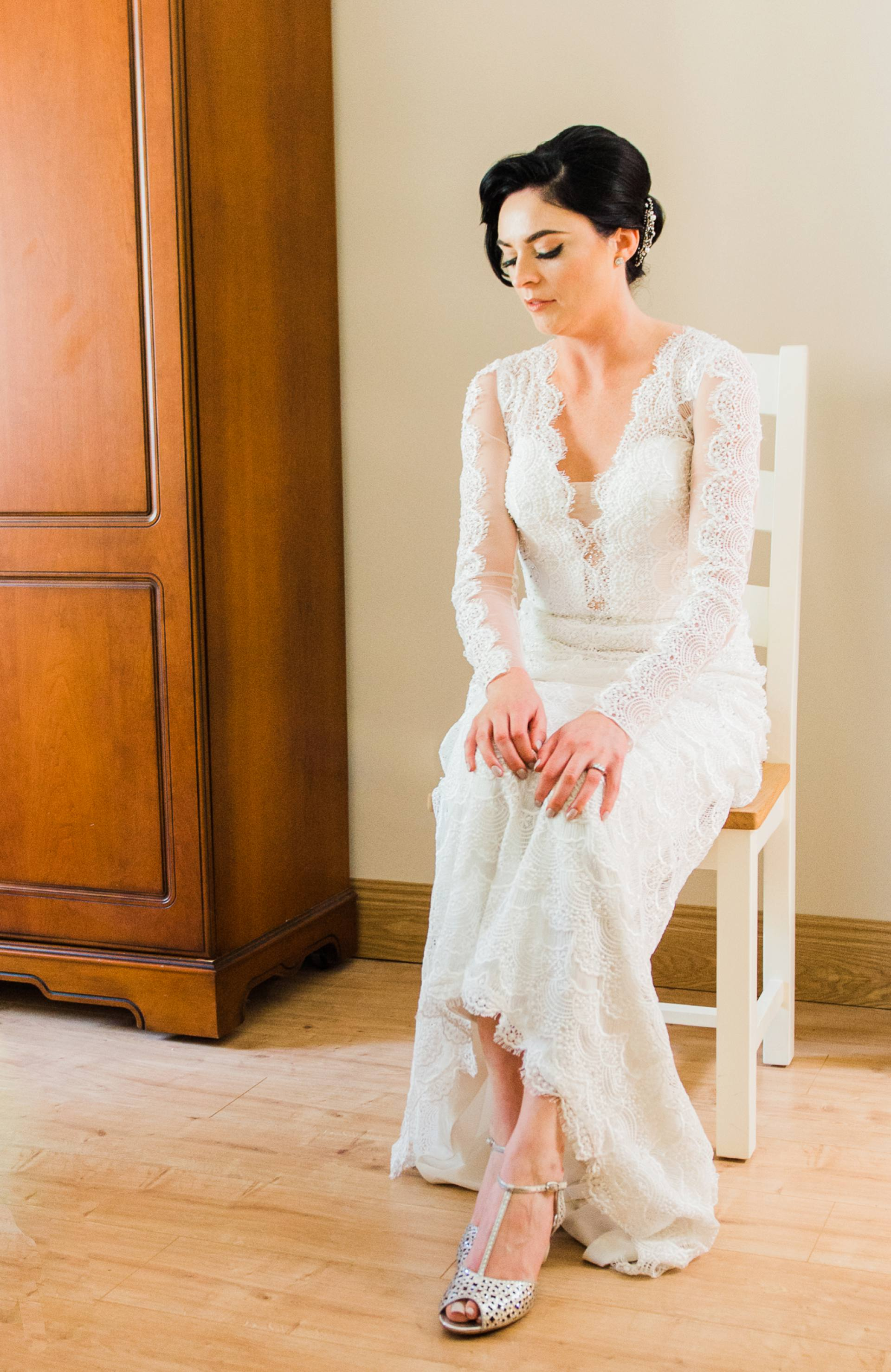 Bride sitting in a chair