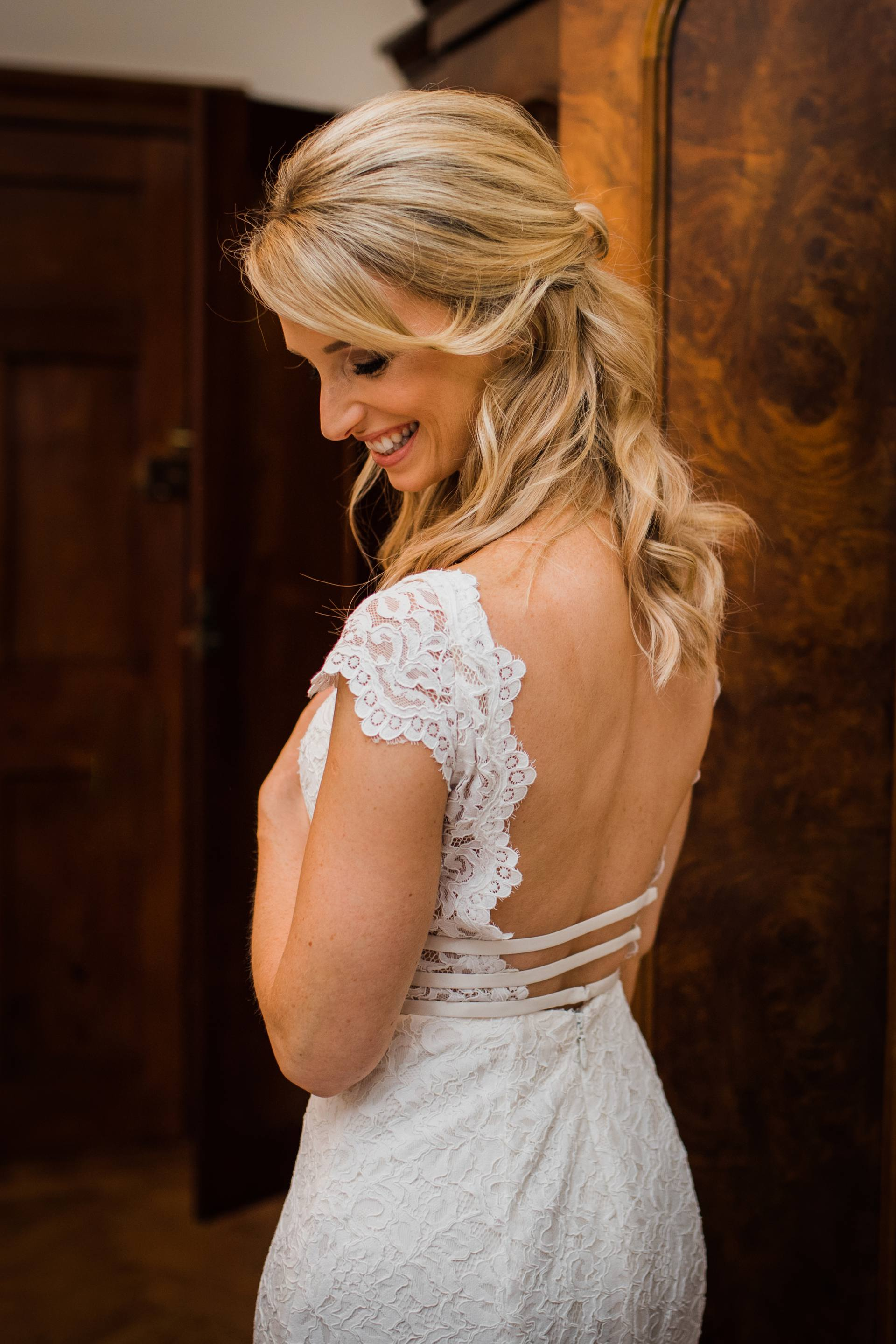 The back of lace wedding dress