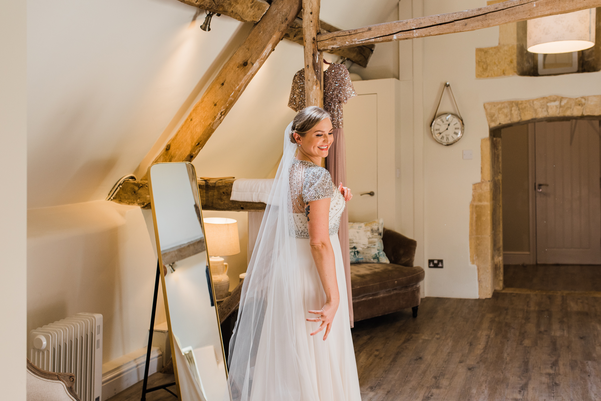Bride at Lapstone Barn in Jenny Packham dress