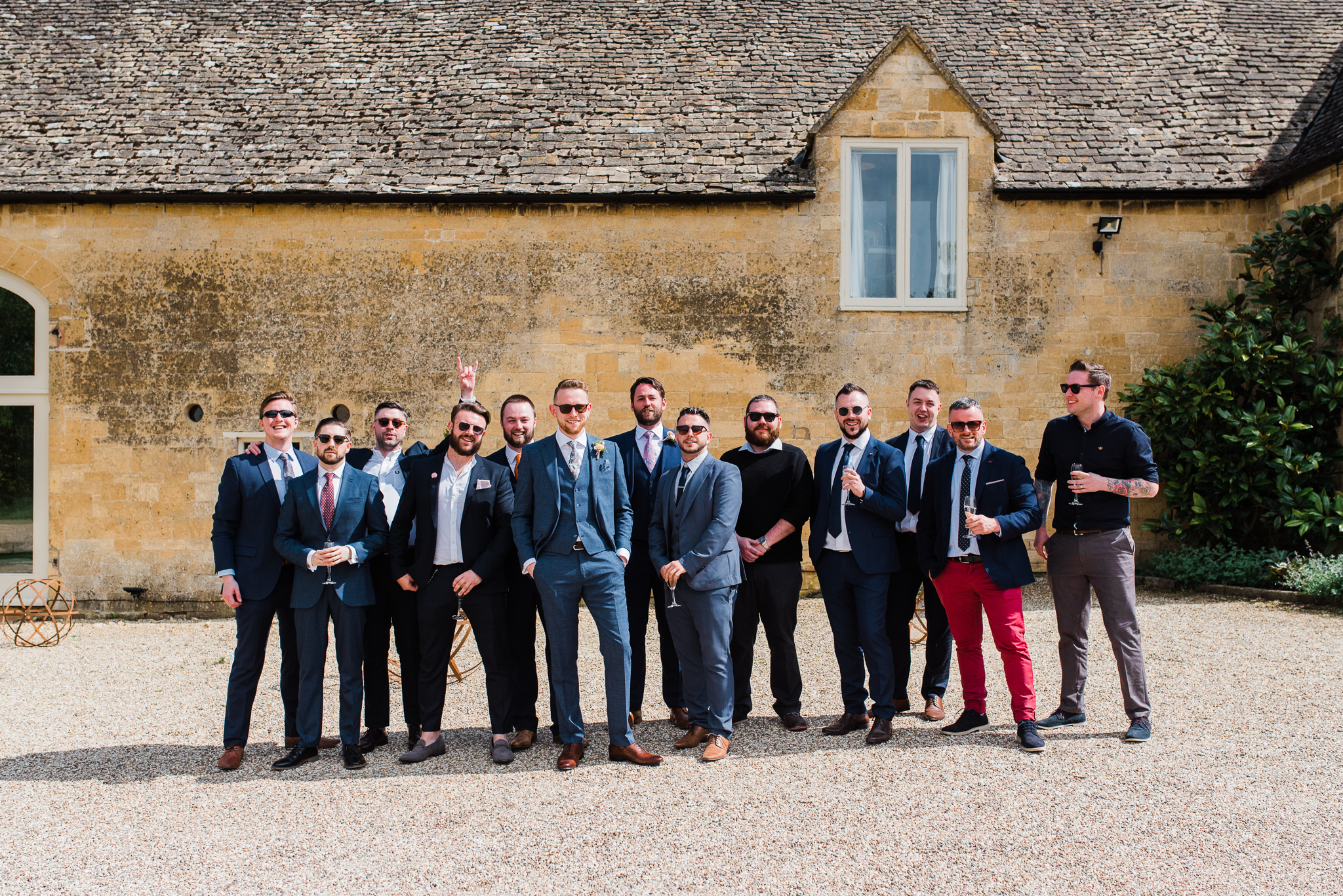 Groom with friends at Lapstone Barn