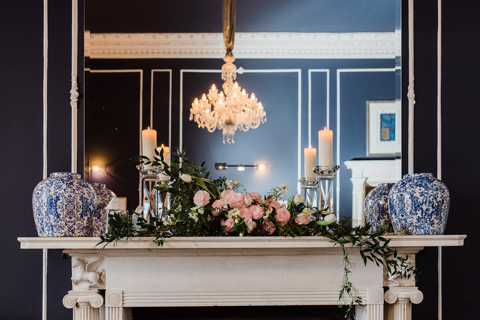Floral centrepiece on mantlepiece