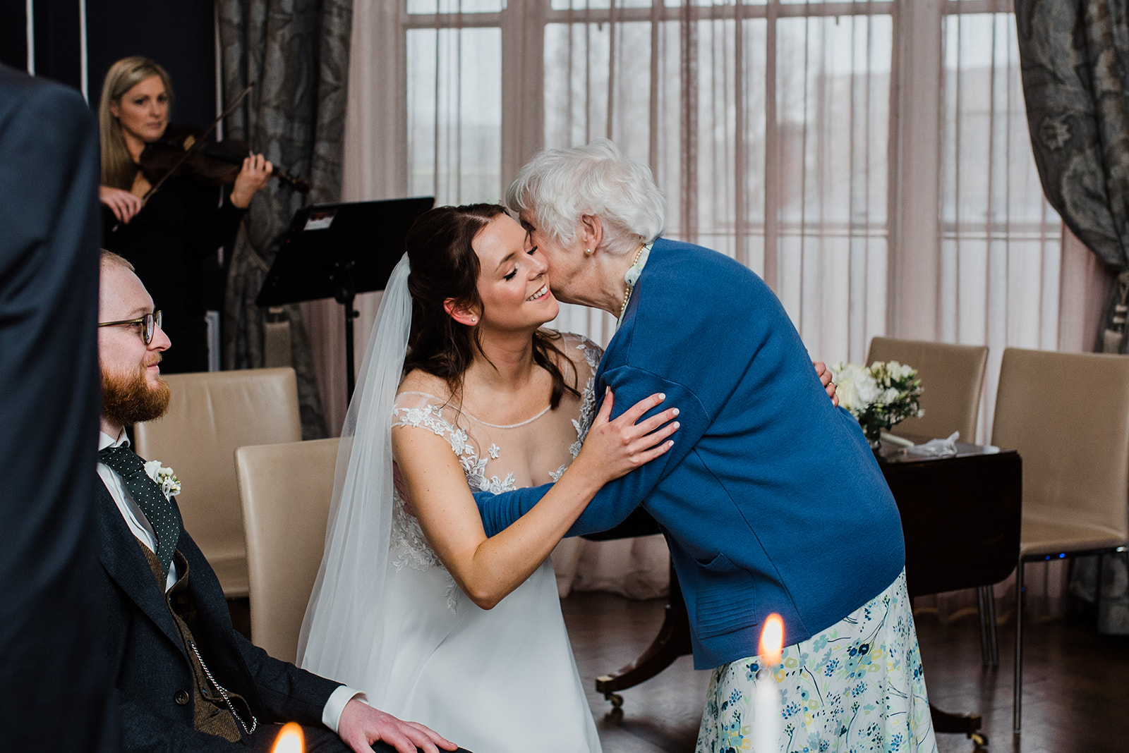 Bride kissing granny